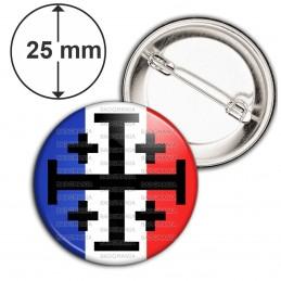 Badge 25mm Epingle Croix de Jérusalem Terre Sainte Drapeau Français Catholique Nation
