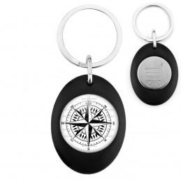 Porte-Clés Noir Ovale Jeton Caddie Compas Boussole 3 - Symbole Marin