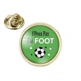 Pin's rond 2cm doré J'Peux Pas J'ai FOOT