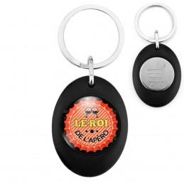 Porte-Clés Noir Ovale Jeton Caddie Le Roi de l'Apéro - Capsule bière Rouge