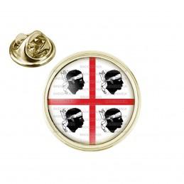 Pin's rond 2cm doré Drapeau Sardaigne Blason Sardegna Italie