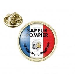 Pin's rond 2cm doré SAPEUR POMPIER Bleu Blanc Rouge Palmes