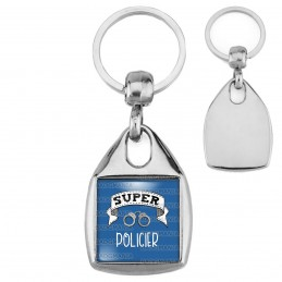 Porte-Clés Carré Acier Super POLICIER