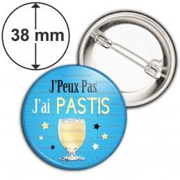 Badge 38mm Epingle J'Peux Pas J'ai Pastis - Verre Aperitif fond bleu