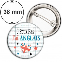 Badge 38mm Epingle J'Peux pas J'ai Anglais - Cœur Quadrillage