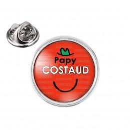 Pin's rond 2cm argenté Papy Costaud - Fond rouge