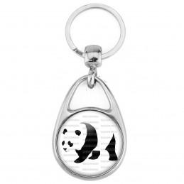 Porte Clés Métal 2 Faces Logo 3cm Panda Géant Ursidés Animal Chine Noir et Blanc