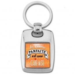Porte Clés Rectangle Acier 2 Faces La Femme Parfaite est une CHIEUSE - Cœur fond orange