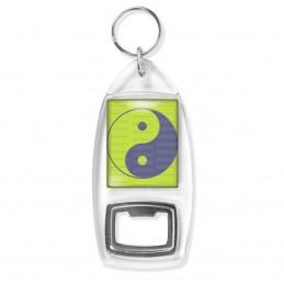 Porte Clés Décapsuleur Yin Yang Vert Anis Gris Harmonie Equilibre Feng Shui Paix Peace