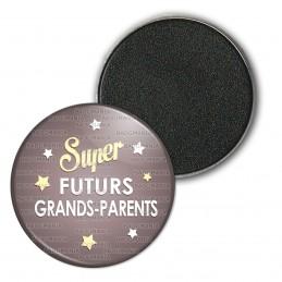 Magnet Aimant Frigo 3.8cm Super Futurs GRANDS PARENTS - Etoiles Fond Marron