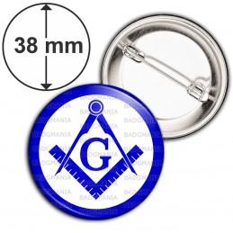 Badge 38mm Epingle Compas Equerre Francs-Maçons Symbole Maçonnique Bleu