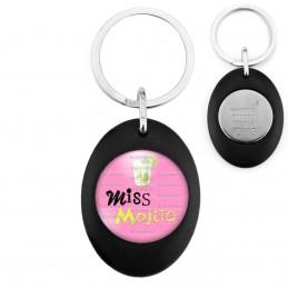 Porte-Clés Noir Ovale Jeton Caddie Miss Mojito - Verre Mojiton boisson sur fond rose
