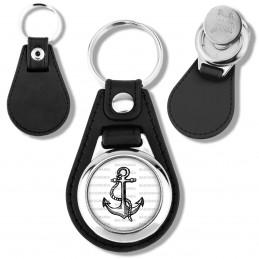 Porte-Clés Cuir Vegan Rond Jeton Caddie Ancre de Marine - Symbole Marin