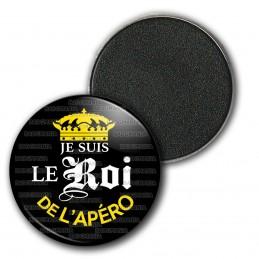 Magnet Aimant Frigo 3.8cm Je suis le Roi de l'Apéro - Capsule bière Noir Mexicaine