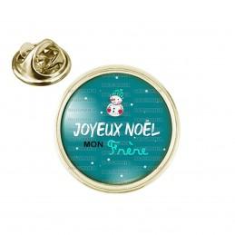 Pin's rond 2cm doré Joyeux Noël MON FRERE - Bonhomme de neige Flocons Fond Bleu