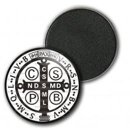 Magnet Aimant Frigo 3.8cm Medaille Croix de Saint Benoit Blanc Noir Exorcisme Benediction