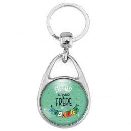 Porte Clés Métal 2 Faces Logo 3cm Futur GRAND FRERE qui déchire - Banderole Fond Vert - Annonce Grossesse Naissance