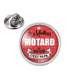 Pin's rond 2cm argenté Le meilleur motard du monde c'est Papa - Fond Rouge