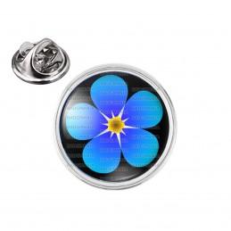 Pin's rond 2cm argenté Fleur Myosotis Francs-Maçons Symbole Maçonnique