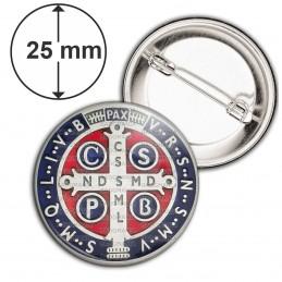 Badge 25mm Epingle Medaille Croix de Saint Benoit Couleur Exorcisme Benediction