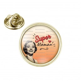 Pin's rond 2cm doré Super Maman - Fond orange Pin-up