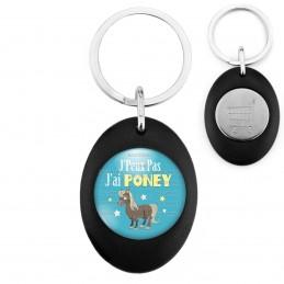 Porte-Clés Noir Ovale Jeton Caddie J'Peux Pas J'ai Poney - Equitation fond bleu