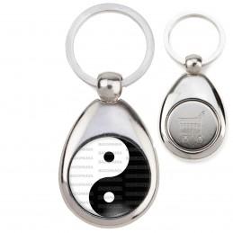 Porte-Clés Acier Goutte Jeton Caddie Yin Yang Blanc Noir Harmonie Equilibre Feng Shui Paix Peace