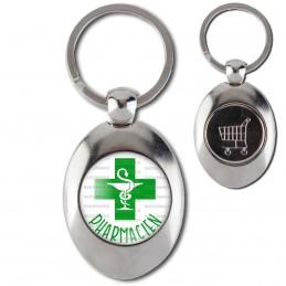 Porte-Clés Acier Ovale Jeton Caddie Pharmacien Caducée Esculape Croix Verte Fond Blanc