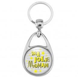 Porte Clés Métal 2 Faces Logo 3cm Ma jolie Maman - Fond Gris Etoiles Jaunes