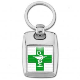 Porte Clés Rectangle Acier 2 Faces Caducée Esculape Croix Verte Pharmacie