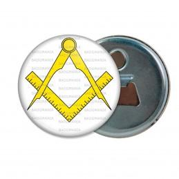 Décapsuleur 6cm Aimant Magnet Compas Equerre Francs-Maçons Symbole Maçonnique Jaune Fond Blanc