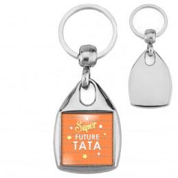 Porte-Clés Carré Acier Super Future TATA - Etoiles Fond Orange