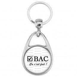 Porte Clés Métal 2 Faces Logo 3cm BAC Ca c'est Fait - Case Cochée Fond Blanc - Diplôme Etude