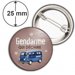Badge 25mm Epingle Gendarme qui déchire - Estafette Fond Marron