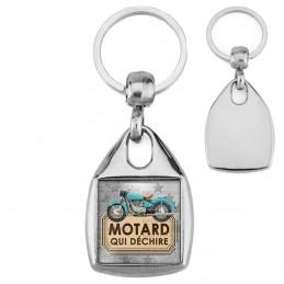Porte-Clés Carré Acier Motard qui déchire - Moto Ancienne Fond Gris