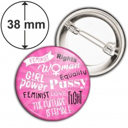 Badge 38mm Epingle Girl Power Feminist Fond Rose