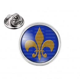 Pin's rond 2cm argenté Fleur de Lys Royale Roi de France Royauté - Ocre sur Fond Bleu
