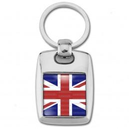 Porte Clés Rectangle Acier 2 Faces Drapeau Royaume-Uni Union Jack Flag Angleterre Anglais