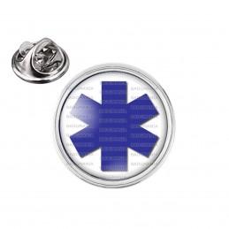 Pin's rond 2cm argenté Croix de Vie Santé Ambulance