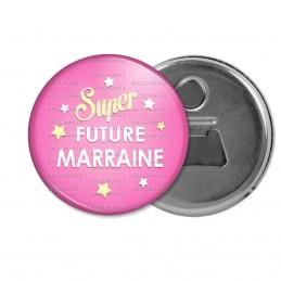 Décapsuleur 6cm Aimant Magnet Super Future MARRAINE - Etoiles Fond Rose