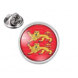 Pin's rond 2cm argenté Blason Haute Normandie Drapeau Symbole France