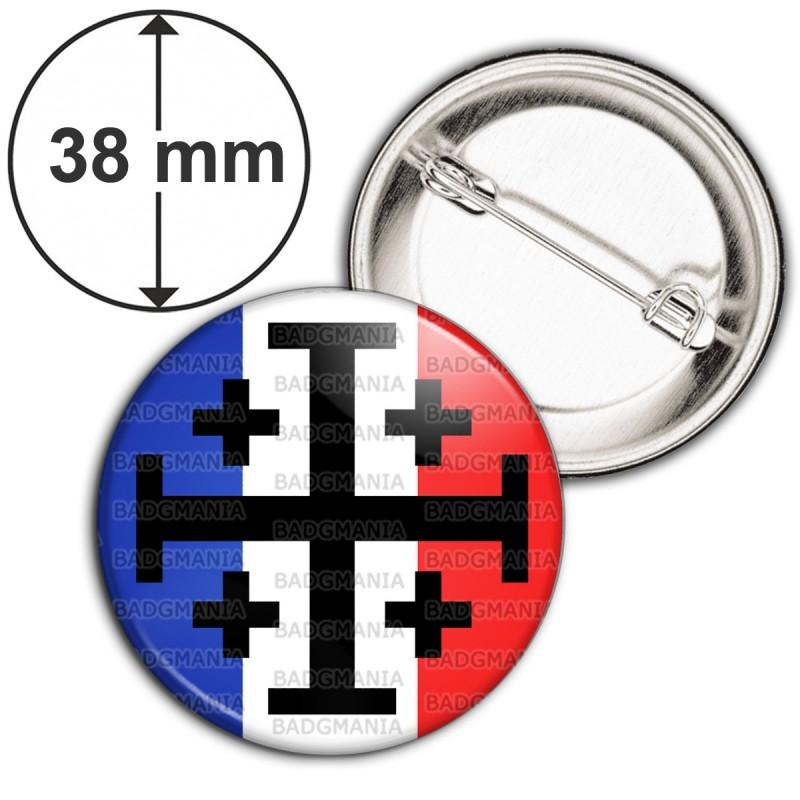 Badge 38mm Epingle Croix de Jérusalem Terre Sainte Drapeau Français Catholique Nation