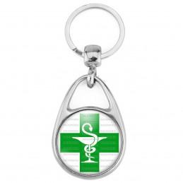 Porte Clés Métal 2 Faces Logo 3cm Caducée Esculape Croix Verte Pharmacie