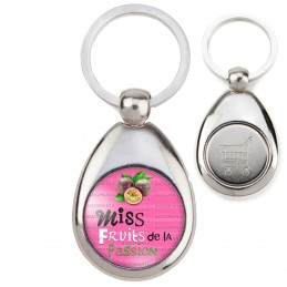 Porte-Clés Acier Goutte Jeton Caddie Miss Fruits de la Passion - Fruits sur fond rose
