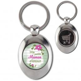 Porte-Clés Acier Ovale Jeton Caddie Ma Petite Maman d'Amour - Fleurs Violettes Fond Vert