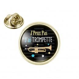 Pin's rond 2cm doré J'Peux Pas J'ai Trompette - Instrument Musique