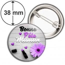 Badge 38mm Epingle Bonne Fête Maman - Cœur Fleur Violet Rouge Levres sur Gris