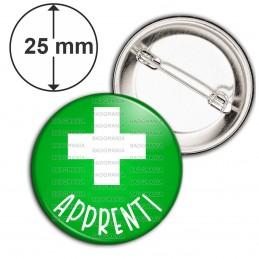 Badge 25mm Epingle Apprenti en Pharmacie Croix Fond Vert