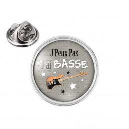 Pin's rond 2cm argenté J'Peux Pas J'ai Basse - Guitare Electrique Instrument Musique