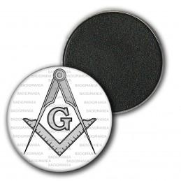 Magnet Aimant Frigo 3.8cm Compas Equerre Francs-Maçons Symbole Maçonnique Gris